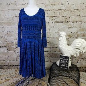 Cynthia Rowley Blue Black Tribal Print Dress Work